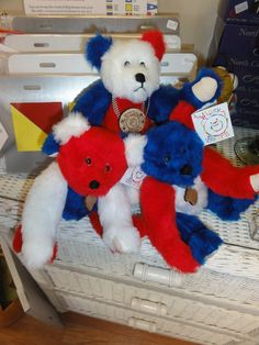 My Safe Haven Collection Teddy Bears Red White by SallyWineyBears, $59.00
