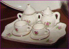 MINIATURE 9 pc Tea Set Floral Rose Pattern by BackStageVintageShop