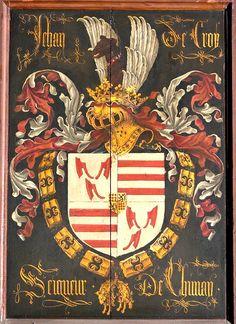 Golden Fleece Order stallplate of 23. Jehan de Croy, Comte de Chimay (1395-1473), O.L.Vrouw kerk Brugge, by Pierre Coustain 1468.