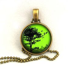 10% SALE Necklace Copper, Emerald Sunset Silhouette Tree Pendant, Resin Art Pendant Gift
