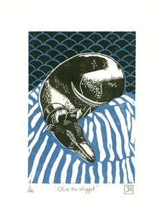 Olive The Whippet two-colour linocut print £22.00