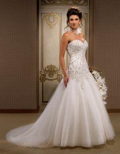 Gorgeous sleeveless ball gown floor-length wedding dress.