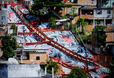 Favela painting by Haas and Hahn: 'rio cruzeiro', 2008 in Vila Cruzeiro, Brazil  image © favela painting project