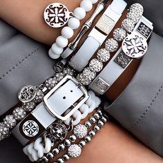 Rustic Cuff Grey & White