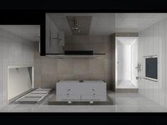 Badkamer | Badkamer idee voor kleine badkamer Door joedavaro Slim, de douche ingang bij het bad.