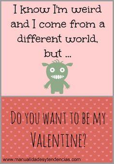 Free printable funny Valentine's day card  www.manualidadesy... #scrapbooking #Valentinesday #Sanvalentin