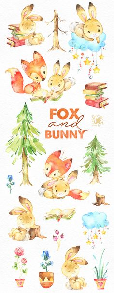Fox and Bunny. Cute animal clipart watercolor friends