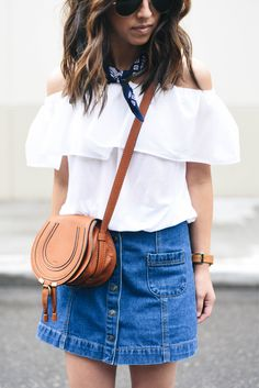 Summer outfit: white off-the-shoulder top, Bandana, Chloé bag, button denim skirt