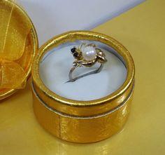175 mm Ring 835er vergoldet Perle Saphire SR654 von Schmuckbaron