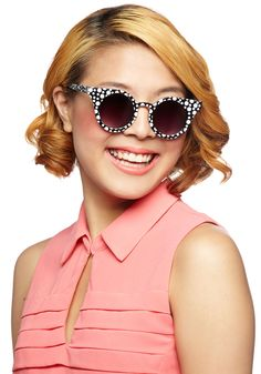 Trendspotting Sunglasses. While searching for a trendsetting pair of summer sunglasses, you spot these bubbly sunnies - as featured in Lucky Magazine - that are perfect for your look. #black #modcloth