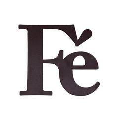 Decoração - Apliques - MID - APLIQUE  FÉ - MARROM #adesivo #aplique #sticker #decoratingideas #decorate #fé #faith