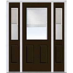 Milliken Millwork 64.5 in. x 81.75 in. Classic Clear RLB 1/2 Lite 2 Panel Painted Fiberglass Smooth Exterior Door with Sidelites, Brown