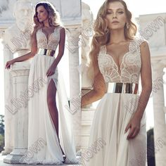 New 2014 Deep V Neck Embroidery Beaded Gold Metal Belt Chiffon Julie Wedding Dresses Designer Special Occasion Dress Multi Color-in Wedding ...