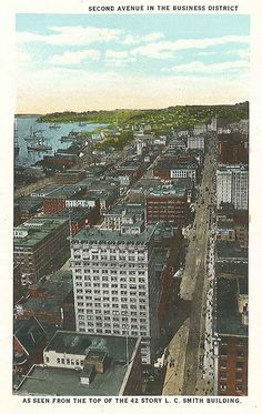 Second Avenue from Smith Tower, 1913 by Seattle Municipal Archives, via Flickr