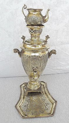 RP: Persian Isfahan Antique Set Brass Samovar with Tea Coffee Pot Tray Engraving | eBay.com