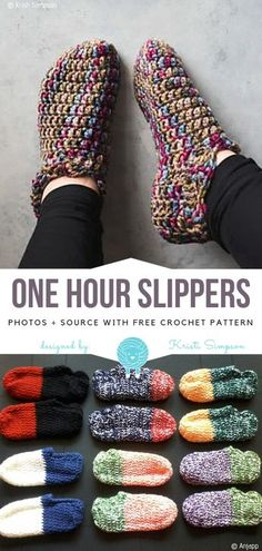 Fast and Easy Crochet Projects Free Patterns - Crochet and Knitting Patterns strickmuster Anleitung Fast and Easy Crochet Projects Free Patterns - Crochet and Knitting Patterns Crochet Gifts, Crochet Baby, Knit Crochet, Slippers Crochet, Easy Crochet Slippers, Chrochet, How To Crochet Slippers, Crochet Slipper Boots, Kids Slippers