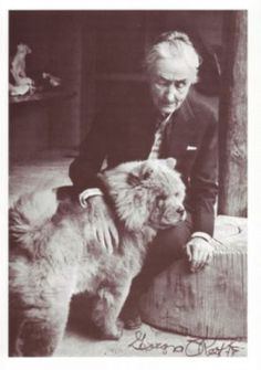 Georgia O'Keeffe and her Chow Jango. I admire her courage to live her life on her terms & for the beauty she brought us through her paintings