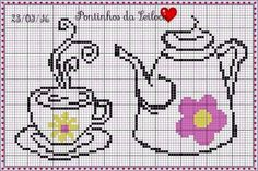 Tea with flowers theme. This  chart is a multi functional craft pattern. Uses include : cross stitch, crochet, knitting motifs, knotting, loom beading, Perler beading, weaving and tapestry design, pixel art, micro macrame, friendship bracelets, and anything involving the use of a charted pattern.