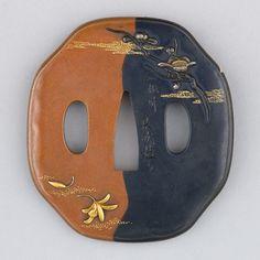 Sword Guard (Tsuba)  Date: ca. 1615–1868  Culture: Japanese  Medium: Copper, copper-gold alloy (shakudō), copper-silver alloy (shibuichi), gold, silver  Metropolitan Museum of Art