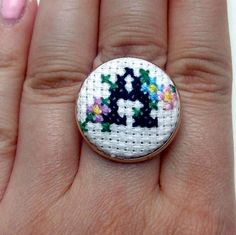 Personalised Cross-Stitch Ring With Flowers