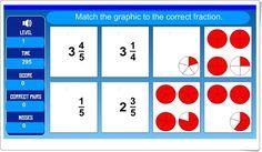 """""""Memory de fracciones"""" (Números mixtos de Educación Primaria) Primary Maths, Fractions, Ideas, School Supplies, Maths Area, Funny Math, Primary Education, Thoughts"""