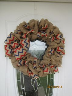 4th of july wreath Red white and blue by PrettyHomeCreations,