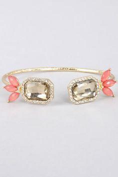 { Endless Friend Coral Rhinestone Bracelet at LuLus.com }