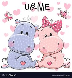 Illustration about Two Cute Cartoon Hippos on a background of heart. Illustration of greeting, decoration, beautiful - 85078181 Cartoon Hippo, Cute Cartoon Animals, Cartoon Images, Girl Cartoon, Baby Animals, Cute Animals, Cute Hippo, Baby Hippo, Environmental Crafts