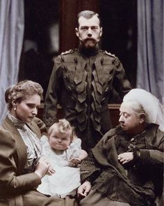 """Famous Woman on Instagram: """"Queen Victoria of Great Britain with Tsar Nicholas II of Russia. Seated on the left is Tsarina Alexandra holding her baby daughter Grand…"""" European History, British History, Asian History, Tudor History, Zar Nikolaus Ii, Tsar Nicolas, Queen Victoria Family, Alexandra Feodorovna, Reine Victoria"""