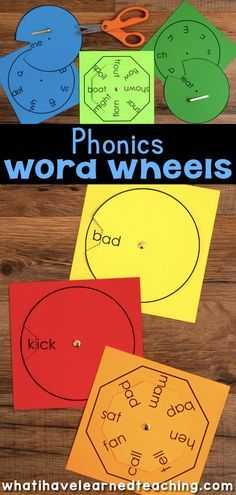 Phonics Word Wheels are a fun, engaging activity for your small group reading instruction or your word work center. Easy to assemble, these word wheels allow students to create words by word family or make a variety of real and nonsense words. Learning Phonics, Phonics Activities, Teaching Reading, Learning Activities, Kids Learning, Word Family Activities, Phonics For Kids, Preschool Phonics, Kindergarten Curriculum