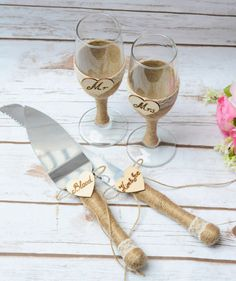 Toasting Glasses Flutes Rustic Cake Serving Set by HappyWeddingArt
