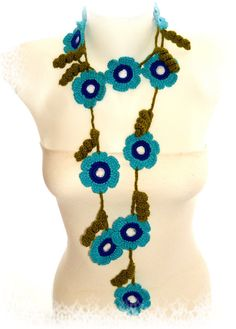 Crochet larairat necklace jewelry with blue