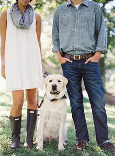 What to wear. Hunter Boots and a Bow Tied Puppy - A rustic elegant engagement shoot by Kayla Barker - via greylikeweddings Picnic Engagement, Engagement Outfits, Engagement Pictures, Engagement Session, Engagements, Beach Engagement, Engagement Ideas, Outfit Ideas, Couple Photography