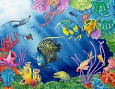 underwater coral reef acrylic - Google Search