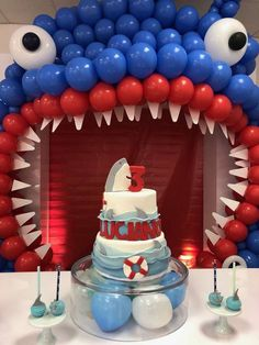 Check out the fun birthday cake at this Sharks Birthday Party! See more party id. Check out the fun birthday cake at this Sharks Birthday Party! See more party ideas and share yours Shark Birthday Cakes, Boy Birthday Parties, Birthday Fun, Birthday Ideas, Shark Party Decorations, Shark Shark, Shark Bait, Baby Shark, Party Ideas