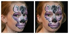 Purple Zebra, face painted by Stephanie, www.colour-me-in.co.nz. Who said zebra's have to be black and white? If you use an accent colour in your toning zones, it can be very effective. My model chose purple today. Zebra Face, Purple Zebra, Face Painting Designs, Zebras, Accent Colors, Halloween Face Makeup, Colour, Black And White, Model