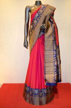Strawberry Pink Exclsuive Kanjeevaram Silk Saree