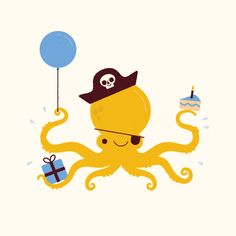 'Pirate party' by Ben Aslett #illustration #pirate #octopus #party