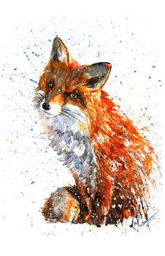 Love the creative use of color splatter in this fox painting (Fox Art Print by KOSTART Animal Paintings, Animal Drawings, Art Drawings, Fox Painting, Painting & Drawing, Watercolor Animals, Watercolor Art, Fuchs Tattoo, Lapin Art