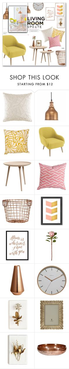 """Spring Living Room: Copper, Pink & Yellow"" by lauren-a-j-reid ❤ liked on Polyvore featuring interior, interiors, interior design, home, home decor, interior decorating, KAS Australia, MoMo, H&M and Americanflat"