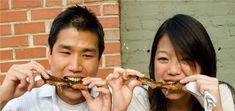 enjoying barbecue ribs indoors