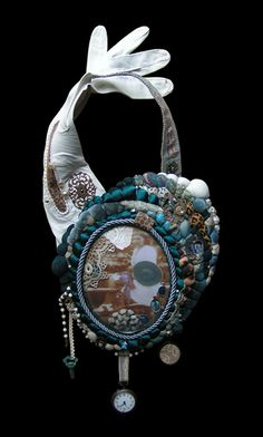 Another beautiful neckpiece by Les Bijoux d'Odette made from found objects and a single vintage leather glove