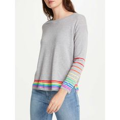 BuyCocoa Cashmere True Rainbow Stripe Cashmere Jumper, Grey, S Online at johnlewis.com