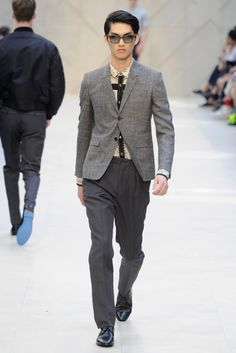 Burberry Prorsum Men's RTW Spring 2013. He looks like Miss Saigon! These extremely fitted jackets need to be ( usually) tailored to feel comfortable. Shirt rocks.