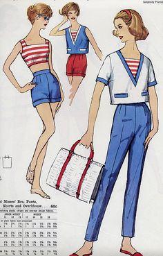 Vintage Dress Patterns, Clothing Patterns, Vintage Dresses, Vintage Outfits, 1960s Fashion, Vintage Fashion, Patron Vintage, 20th Century Fashion, Sailor Fashion