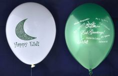 "Eid Balloons - Mixed Designs (20 Pack) by Zaffron Shop. $9.99. A pack of 20 Eid Balloons in our two very popular designs-- ""Happy Eid Crescent"" and ""World Eid Greetings"" styles. Decorate your house, community center, or surprise someone with these great Eid balloons. Perfect for celebrating Eid in style, there are 10 balloons in metallic green, with white writing, and 10 balloons in white with green writing. The ""World Eid Greetings"" design has Eid greetings from around the wo..."