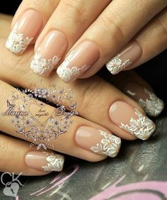 I love that the lace here mimics the curve of the nail whites. Simply stunning.