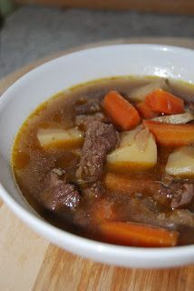 This easy, comforting beef stew is cooked in a slow cooker with potatoes in a hearty broth. Garlic, Worcestershire sauce, and paprika add flair! Stew Meat Recipes, Beef Stew Meat, Slow Cooker Beef, New Recipes, Recipies, Crockpot Dishes, Crockpot Recipes, Goulash Soup, National Dish