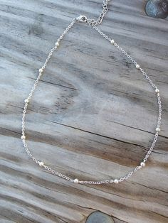 Silver Balls Chain Choker, Silver Ball Choker, Satellite Necklace, Layering Necklace, Dainty Beaded Satellite Chain,Simple Jewelry.