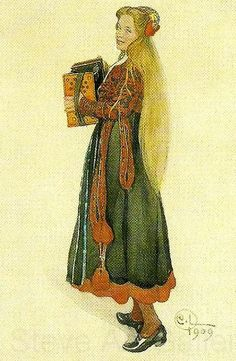 Painting by Carl Larsson. Girl in a folk dress, Lisbeth in a dress from the Delsbo region (the painter's daughter)   flicka i bygdedrakt-lisbeth i sin delsbodrakt